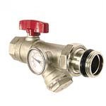 1 Inch Angle Isolation Valve Thermometer Y Strainer - Red